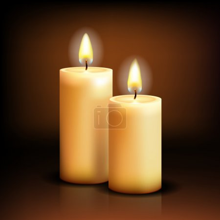 Beautiful Isolated realistic candles at dark. Vect...