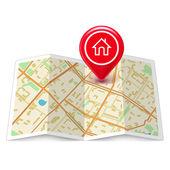"""Постер, картина, фотообои """"городская карта с этикеткой домой прикрепляет"""""""