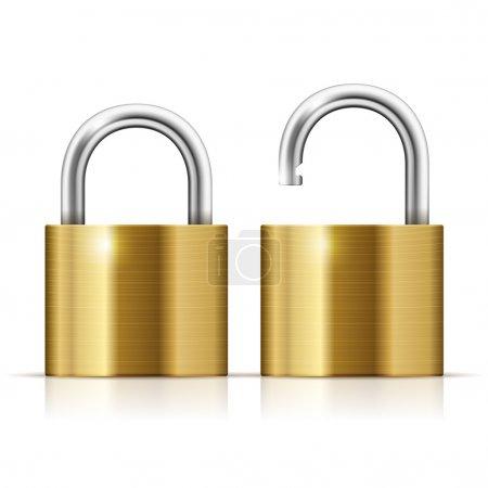 Locked and unlocked Padlock Icon isolated on white...