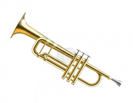 Vector Gold Trumpet isolated on white background...