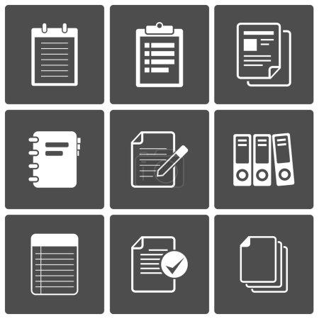 Illustration pour Papier pour bloc-notes vectoriel Documents Set d'icônes - image libre de droit