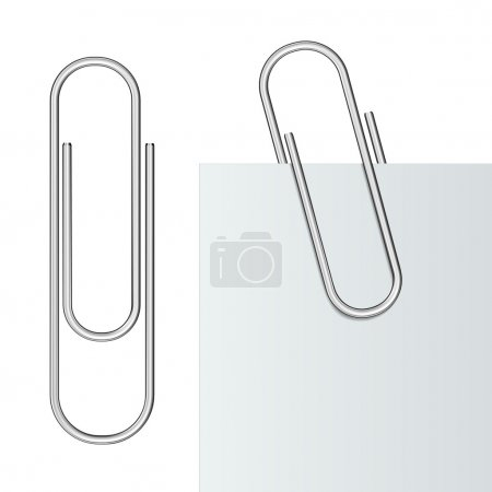 Illustration for Metal paper clip and paper isolated on white background. Vector Illustration - Royalty Free Image