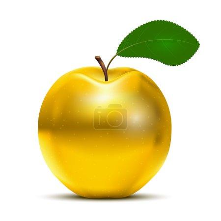 Ilustración de Manzana golden Vector con hoja verde aislada sobre fondo blanco - Imagen libre de derechos