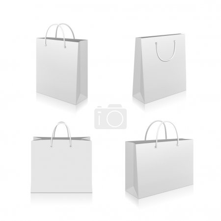 Paper Shopping Bags collection isolated on white b...