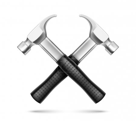 Illustration pour Emblème des Marteaux Croisés Illustration vectorielle isolée sur fond blanc - image libre de droit
