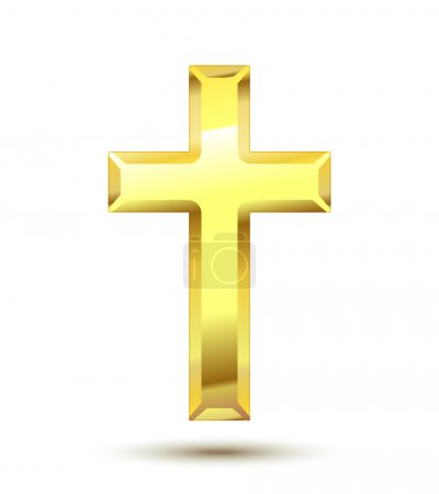 Illustration for Golden Christian Cross isolated on white background - Royalty Free Image