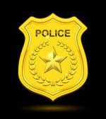 Gold Police Badge isolated on black background