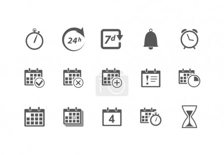Illustration for Vector Time and Calendar Icons isolated on white - Royalty Free Image