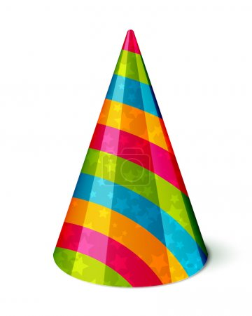 Illustration for Vector Party hat with stripes and stars on white - Royalty Free Image