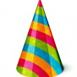 Vector Party hat with stripes and stars on white...