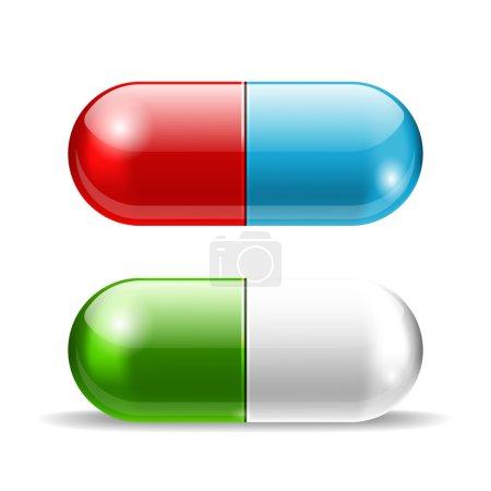 Illustration pour Pilules vectorielles bleu rouge et vert sur blanc - image libre de droit