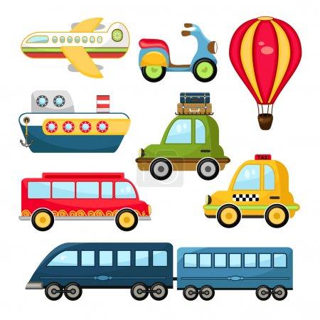 Illustration for Cute Vector Illustration Cartoon Transportation set on white background - Royalty Free Image
