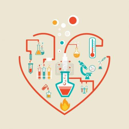 Illustration pour Illustration vectorielle du schéma infographique Love chemistry avec flacons, éprouvettes et béchers - image libre de droit