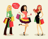 Blonde brunette and redhead fashion shopping girls with bags and packages in hand glad purchases vector illustration