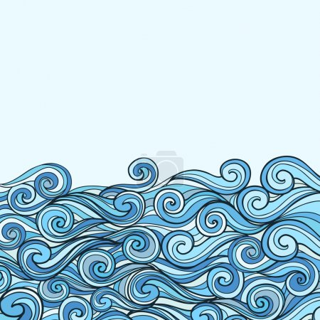 Illustration for Blue Sea Wave background vector illustration with place for text - Royalty Free Image