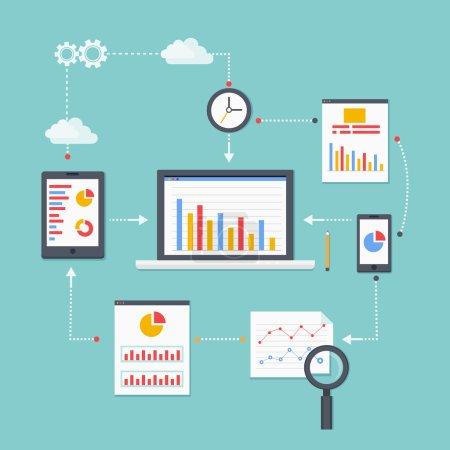 Illustration pour Schéma vectoriel plat de l'information, du développement et de la statistique web analytics. Illustration vectorielle - image libre de droit