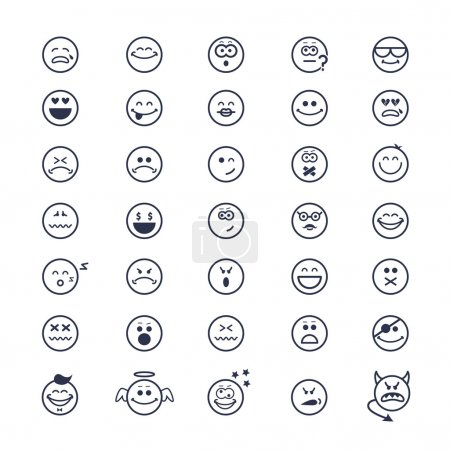 Illustration for Large set of vector icons of smiley faces on white background - Royalty Free Image