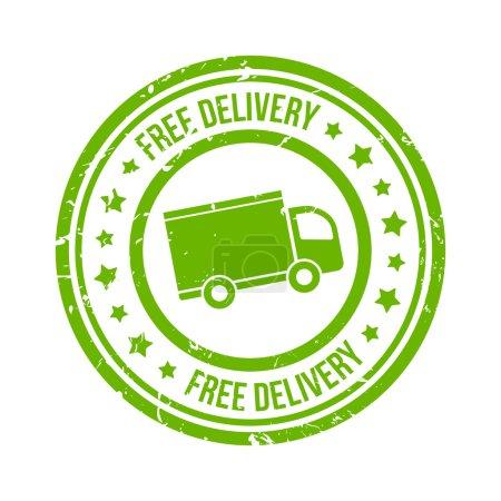 Illustration pour Timbre vert livraison gratuite avec van et étoiles vecteur eps10 illustration - image libre de droit