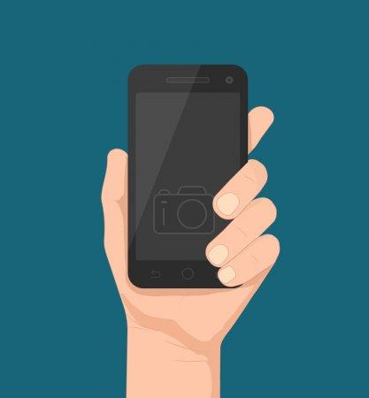Illustration pour Modèle Smartphone à la main pour applications web et mobiles (app), illustration vectorielle eps10 - image libre de droit