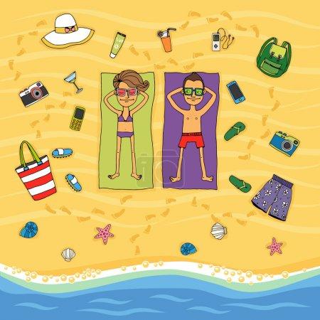 Couple sunbathing on a tropical beach
