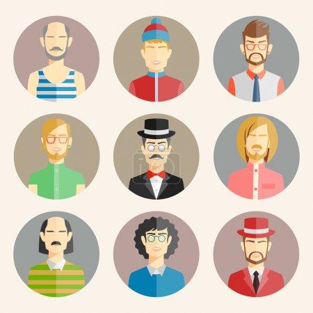Set of nine male avatars