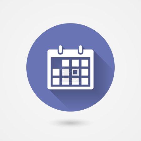 Illustration pour Icône du calendrier dans une circulaire bleue entourer conceptuel de gestion du temps organisation rendez-vous et événements importants icône vectorielle avec ombre - image libre de droit