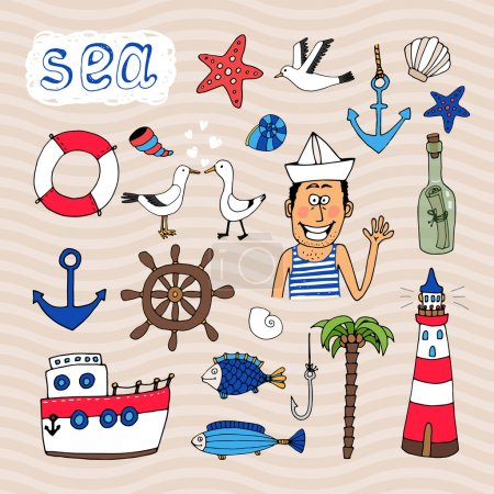Illustration for Hand drawn Nautical Elements and cute sailor vector eps10 illustration - Royalty Free Image