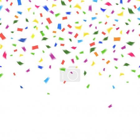 Illustration pour Modèle vectoriel de confettis colorés vibrants aux couleurs de l'arc-en-ciel sur blanc avec copyspace pour votre texte de carte de vœux ou invitation pour le mariage de Noël Nouvel An ou anniversaire - image libre de droit