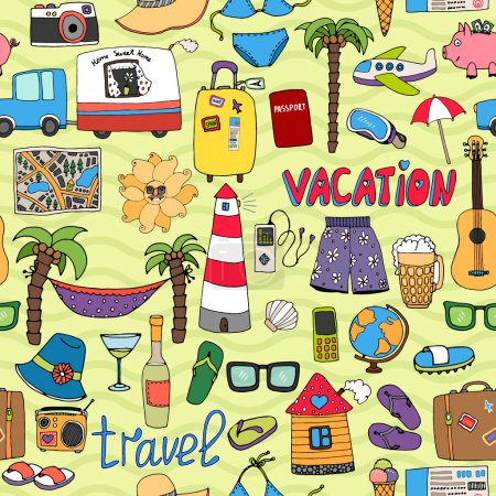 Seamless tropical vacation and travel pattern