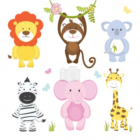 Illustration for Set of cute vector cartoon wild animals with a monkey hanging from a branch lion pink elephant koala bear zebra and giraffe suitable for kids illustrations isolated on white - Royalty Free Image