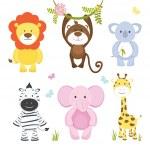 Set of cute vector cartoon wild animals with a mon...