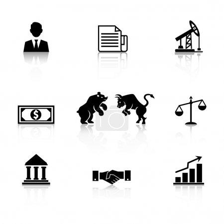 Illustration pour Icône d'affaires vectorielle sertie d'une silhouette noire avec un ours homme d'affaires et icône de marché boursier taureau dollar billet mines et banque pétrolière poignée de main graphique et documents - image libre de droit