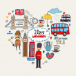 London in my Heart or I Love London card design wi...