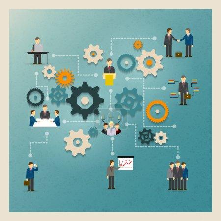 Illustration pour Engrenages d'affaires vectoriels infographies avec des personnes et des icônes - image libre de droit