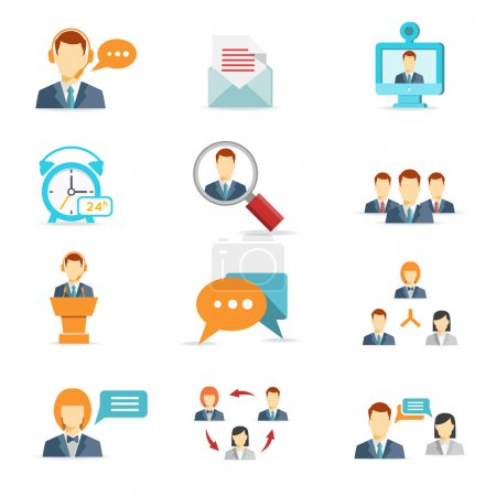 Illustration for Business online, communication and web conference icons in flat style - Royalty Free Image