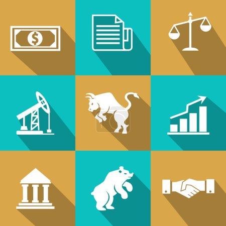 Vektor-Finanzsymbole im trendigen flachen Stil