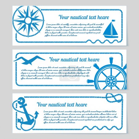 Illustration for Set of nautical themed horizontal banners with copyspace for text featuring a compass yacht seagull vintage ships wheel and anchor with rope frames - Royalty Free Image