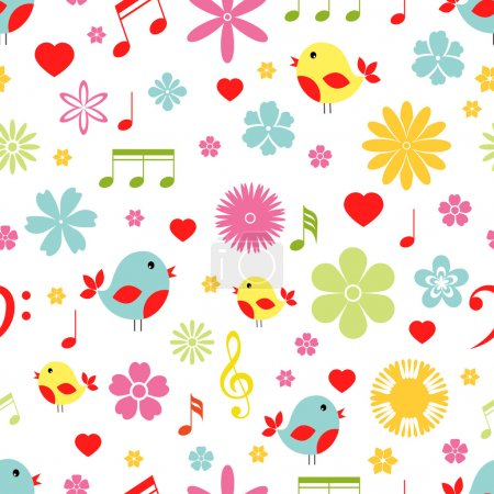 Illustration for Colorful spring Flowers birds and music notes seamless background pattern in square format suitable for tiles fabric and wallpaper - Royalty Free Image