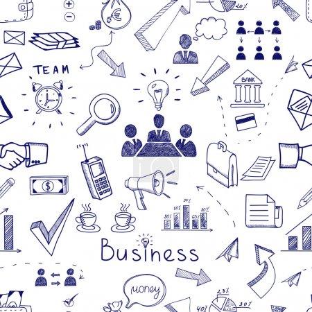 Illustration pour Croquis Doodle modèle d'entreprise transparente icône avec des graphiques de gestion du travail d'équipe financière et des graphiques poignée de main remue-méninges documents et icônes de courrier dispersés aléatoirement sur blanc - image libre de droit