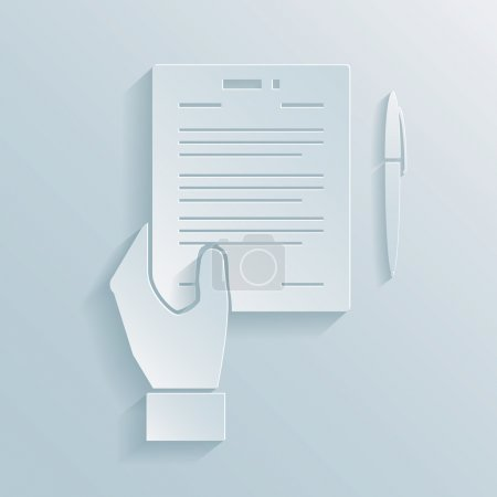 Illustration pour Icône papier d'une main tenant un contrat d'offre d'affaires ou un contrat avec un stylo à côté pour la signature de l'accord - image libre de droit