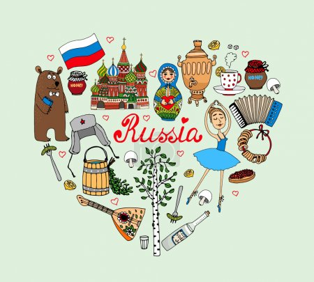 I Love Russia vector heart