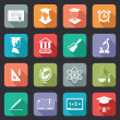 Set of flat school and education icons on colorful...