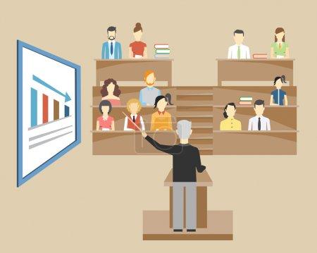 Illustration pour Professeur debout à l'avant de la classe à un lectorat lutrin aux étudiants de l'université qui sont assis dans des sièges à plusieurs niveaux face à l'illustration spectateur - image libre de droit