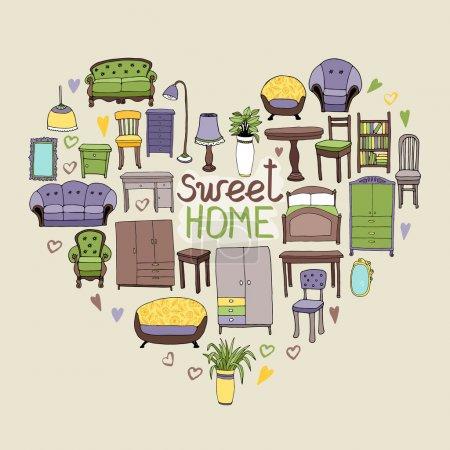 Illustration pour Sweet concept maison avec divers accessoires pour la maison et les icônes de meubles disposés en forme de cœur symbolique de l'amour et de la décoration intérieure, avec texte - sweet home - image libre de droit