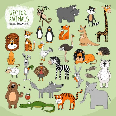 Illustration for Hand-drawn cartoon vector wild animals collection with lion tiger elephant giraffe hippo penguins kangaroo hedgehog bear crocodile rabbit fox wolf monkey ostrich and turkey - Royalty Free Image