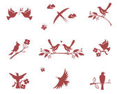 Vector silhouettes of birds on branches Concept for love flight and good conduct