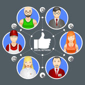 Conceptual illustration showing the diversity of people in a social network with six avatars of men and women linked around a central thumbs up Like icon
