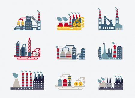 Illustration for Industrial factory buildings icons, vector eps10 illustration - Royalty Free Image