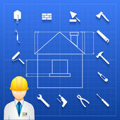 Schematic infogram of a home under construction with an architect engineer or builder in a hardhat and a variety of hand tools icons arranged as a border