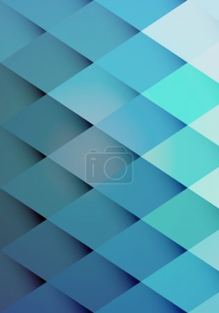 Illustration for Retro hipster background pattern of graduated blue repeat diamonds or rhombs with shaded points giving a three dimensional effect vector illustration - Royalty Free Image